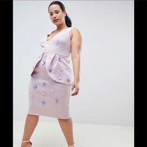 Asos curve scuba embellished pencil dress